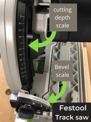 festool TS 75 plunge cut saw cut depth and bevel gauges